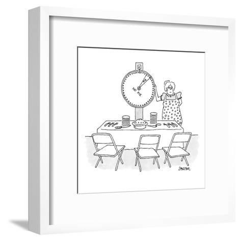 "Woman is spinning a wheel which offers mainly ""no pie"". - New Yorker Cartoon-Jack Ziegler-Framed Art Print"