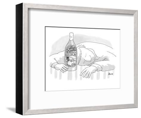 Passed-out drunk with bottle that says, 'Ol' Drunken Stupor,' on the label? - New Yorker Cartoon-Jack Ziegler-Framed Art Print