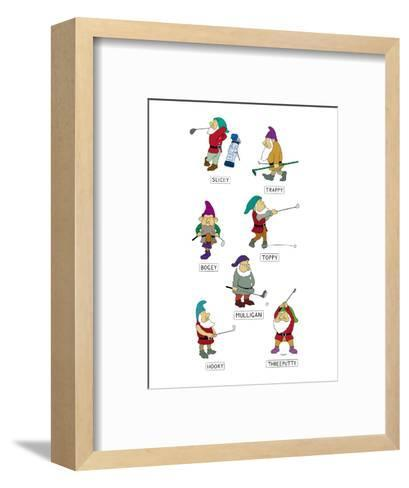 The seven dwarves depicted as golfers with the names, 'Slicey,' 'Hooky,' '? - New Yorker Cartoon-Alex Gregory-Framed Art Print