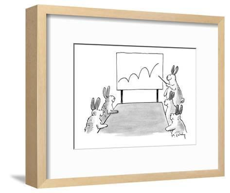 Rabbit at a meeting showing a chart with a bouncing line. - New Yorker Cartoon-Mike Twohy-Framed Art Print