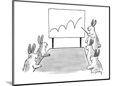 Rabbit at a meeting showing a chart with a bouncing line. - New Yorker Cartoon-Mike Twohy-Mounted Premium Giclee Print