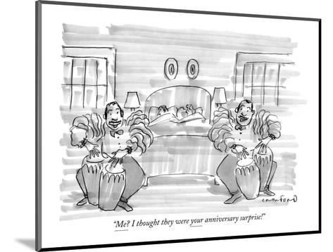 """""""Me? I thought they were your anniversary surprise!"""" - New Yorker Cartoon-Michael Crawford-Mounted Premium Giclee Print"""