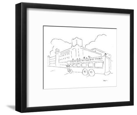 "People on bus tour passing by a prison, bus says ""WON'T GET OFF THE BUS TO? - New Yorker Cartoon-Michael Shaw-Framed Art Print"