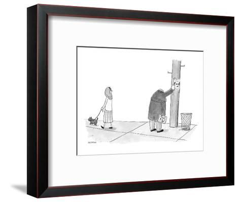 A headless man hangs posters for his own lost head. - New Yorker Cartoon-Jason Patterson-Framed Art Print