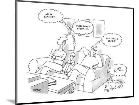 Two parents and their son sit on a couch, dog on floor. - New Yorker Cartoon-Jack Ziegler-Mounted Premium Giclee Print