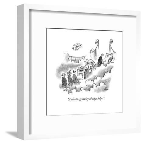 """A sizable gratuity always helps."" - New Yorker Cartoon-Frank Cotham-Framed Art Print"
