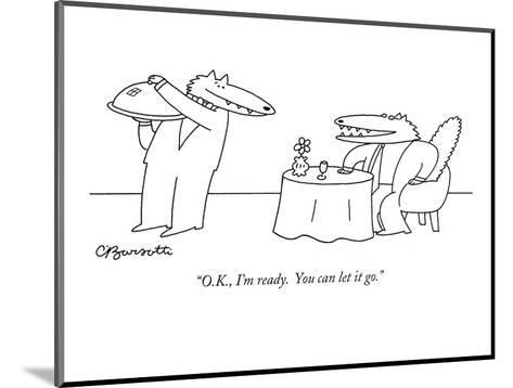 """""""O.K., I'm ready.  You can let it go."""" - New Yorker Cartoon-Charles Barsotti-Mounted Premium Giclee Print"""