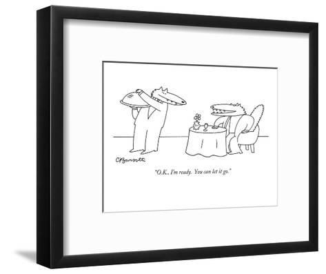 """O.K., I'm ready.  You can let it go."" - New Yorker Cartoon-Charles Barsotti-Framed Art Print"