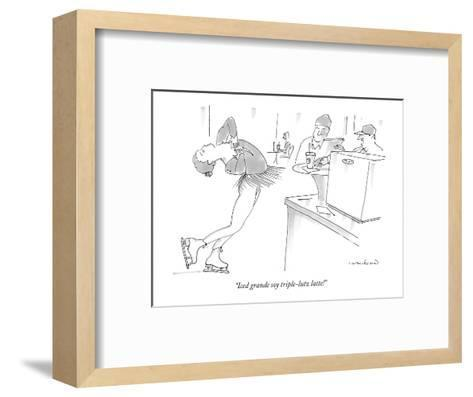 """Iced grande soy triple-lutz latte!"" - New Yorker Cartoon-Michael Crawford-Framed Art Print"