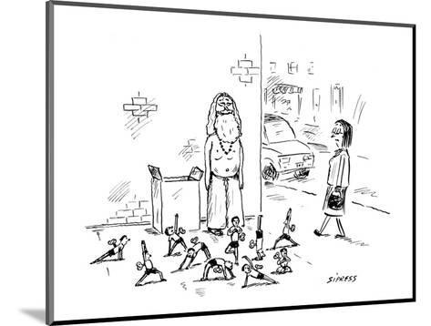 Yoga guru stands on street corner selling little wind-up toys. - New Yorker Cartoon-David Sipress-Mounted Premium Giclee Print