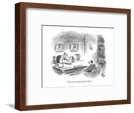 """This coconut represents your head."" - New Yorker Cartoon-Frank Cotham-Framed Art Print"