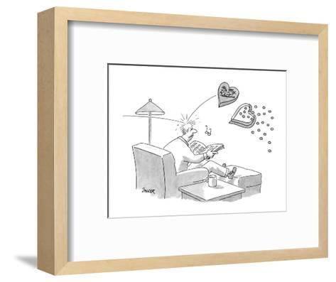 """Man sitting in chair reading; gets hit in the head with a flying box of ch?"""" - New Yorker Cartoon-Jack Ziegler-Framed Art Print"""