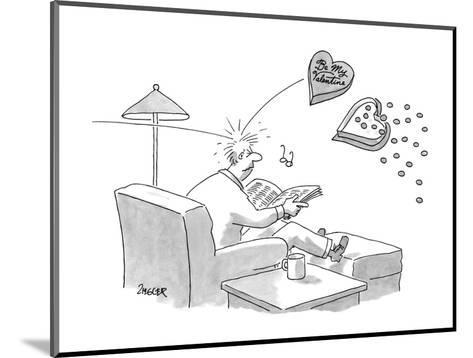 """Man sitting in chair reading; gets hit in the head with a flying box of ch?"""" - New Yorker Cartoon-Jack Ziegler-Mounted Premium Giclee Print"""