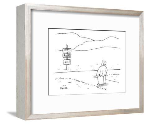 A man stands at directional signs for sunrise, sunset, and noon.  He looks? - New Yorker Cartoon-Jack Ziegler-Framed Art Print