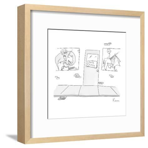 "Exterior of building with ""Gone Crazy"" sign in door.  Windows on either si? - New Yorker Cartoon-Zachary Kanin-Framed Art Print"