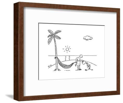 A man on a desert island waters  a tree hoping to use it for his hammock. - New Yorker Cartoon-Matthew Martin-Framed Art Print
