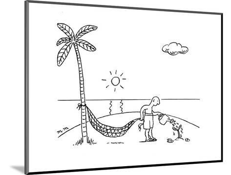 A man on a desert island waters  a tree hoping to use it for his hammock. - New Yorker Cartoon-Matthew Martin-Mounted Premium Giclee Print