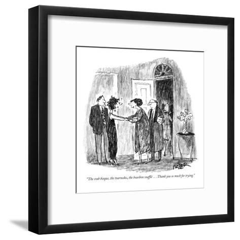 """The crab bisque, the tournedos, the bourbon  souffl? . . . Thank you so m?"" - New Yorker Cartoon-Robert Weber-Framed Art Print"