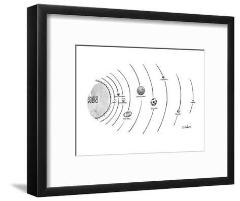 The sun is surrounded by nine types of ball-which seem to be orbltlng-golf? - New Yorker Cartoon-Dana Fradon-Framed Art Print