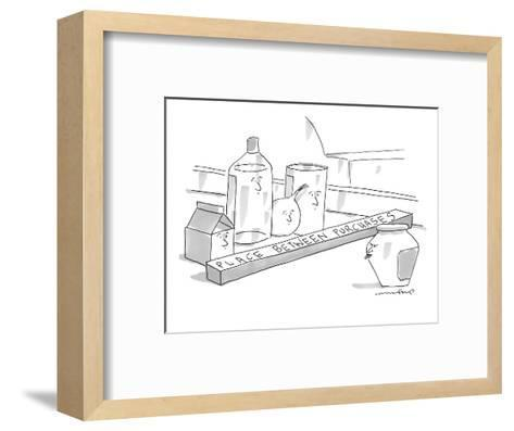 A jar on a supermarket conveyor belt is sticking its tongue out at a group? - New Yorker Cartoon-Michael Crawford-Framed Art Print