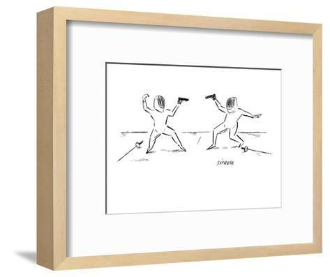Two fencers have laid down their swords and are prepared to duel with guns? - New Yorker Cartoon-David Sipress-Framed Art Print