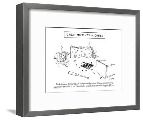 """Great Moments in Chess""-Backed into a Corner by His Computer Opponent, Gr? - New Yorker Cartoon-Alex Gregory-Framed Art Print"
