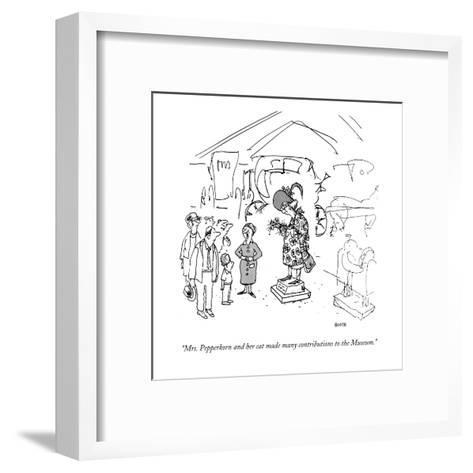 """""""Mrs. Pepperkorn and her cat made many contributions to the Museum."""" - New Yorker Cartoon-George Booth-Framed Art Print"""