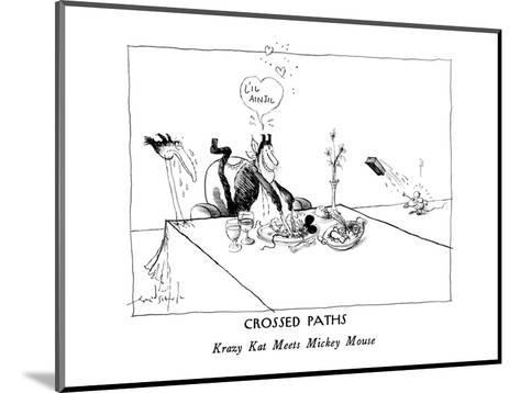 CROSSED PATHS-Krazy Kat Meets Mickey Mouse - New Yorker Cartoon-Ronald Searle-Mounted Premium Giclee Print