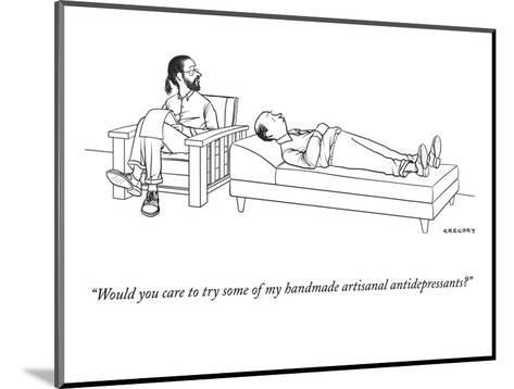 """Would you care to try some of my handmade artisanal antidepressants?"" - New Yorker Cartoon-Alex Gregory-Mounted Premium Giclee Print"