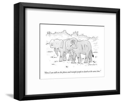 """""""Now I can talk on the phone and trample people to death at the same time.?"""" - New Yorker Cartoon-Danny Shanahan-Framed Art Print"""