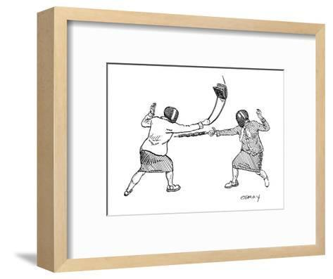 Two women in fencing masks dueling with an umbrella and a purse. - New Yorker Cartoon-Rob Esmay-Framed Art Print