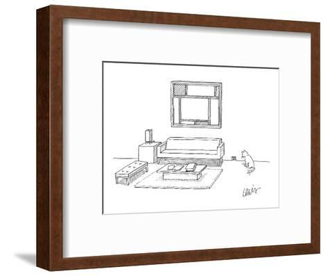 A cat stares at a square mouse hole in a room made entirely of square furn? - New Yorker Cartoon-Eric Lewis-Framed Art Print
