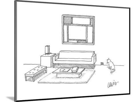 A cat stares at a square mouse hole in a room made entirely of square furn? - New Yorker Cartoon-Eric Lewis-Mounted Premium Giclee Print