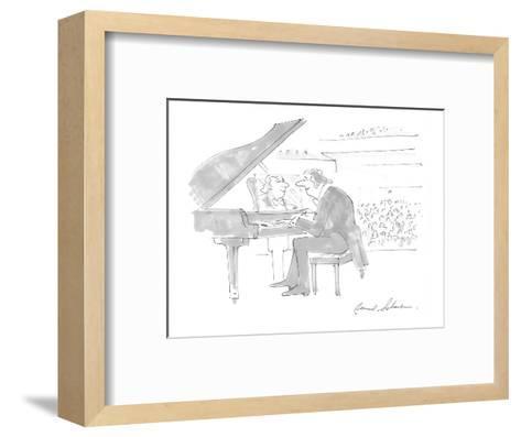Pianist admiring own image in mirror on piano where sheet music should be. - Cartoon-Bernard Schoenbaum-Framed Art Print