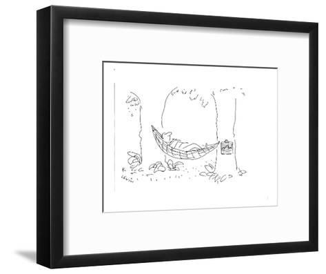 Man laying in hammock with medical chart hanging from one of  the trees. - Cartoon-Arnie Levin-Framed Art Print