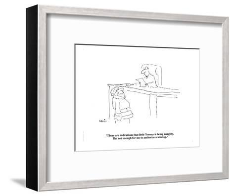 """""""There are indications that little Tommy is being naughty.  But not enough?"""" - Cartoon-Arnie Levin-Framed Art Print"""