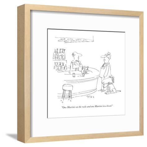 """""""One Martini on the rocks and one Martini in a bowl."""" - New Yorker Cartoon-Dean Vietor-Framed Art Print"""