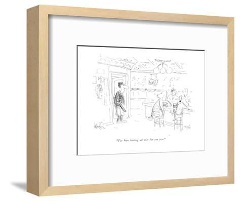 """""""I've been looking all over for you two."""" - New Yorker Cartoon-Arnie Levin-Framed Art Print"""