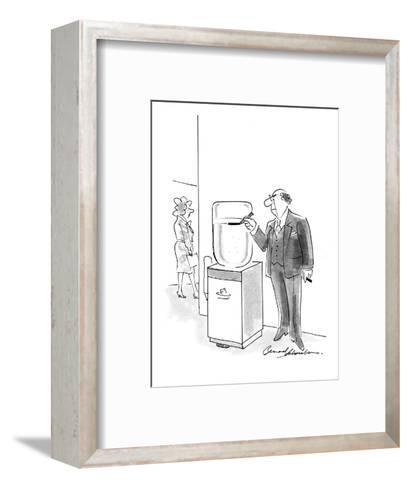 Boss marking water cooler with a pen to keep track of its current level. - Cartoon-Bernard Schoenbaum-Framed Art Print