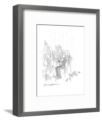 Rats drawn to flutist in orchestra. - Cartoon-Bernard Schoenbaum-Framed Art Print