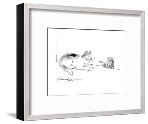 Cat watches as mouse comes out of hole in military tank. - Cartoon-Bernard Schoenbaum-Framed Art Print