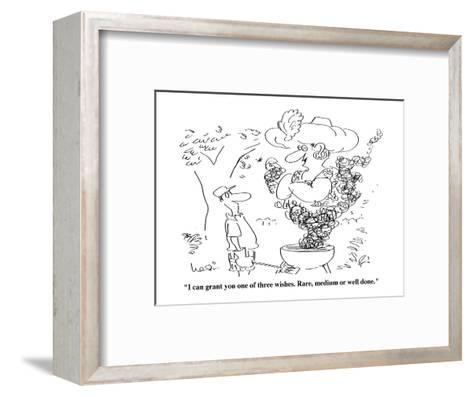 """""""I can grant you one of three wishes. Rare medium or well done."""" - Cartoon-Arnie Levin-Framed Art Print"""