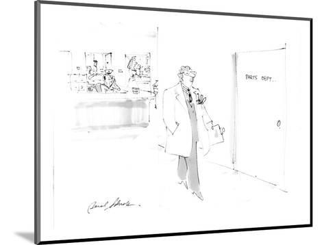 man passing hospital door sign:  parts depart. - Cartoon-Bernard Schoenbaum-Mounted Premium Giclee Print