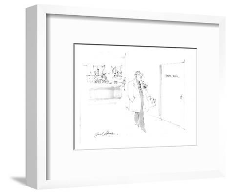 man passing hospital door sign:  parts depart. - Cartoon-Bernard Schoenbaum-Framed Art Print