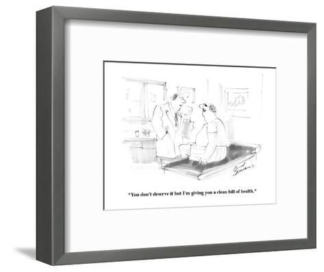 """""""You don't deserve it but I'm giving you a clean bill of health."""" - Cartoon-Bernard Schoenbaum-Framed Art Print"""