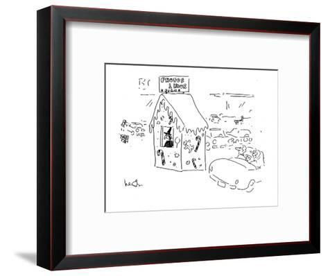 A car passes a witch in gingerbread hut with a sign reading; 'Photos1 Hour? - Cartoon-Arnie Levin-Framed Art Print