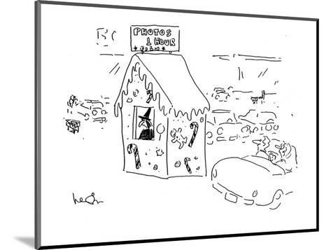 A car passes a witch in gingerbread hut with a sign reading; 'Photos1 Hour? - Cartoon-Arnie Levin-Mounted Premium Giclee Print