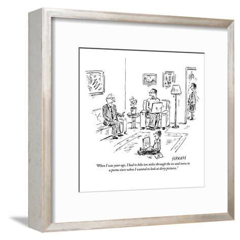 """When I was your age, I had to hike ten miles through the ice and snow to ?"" - New Yorker Cartoon-David Sipress-Framed Art Print"