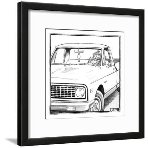 A tree in the shape of a car air-freshener drives a car with an air-freshe? - New Yorker Cartoon-Matthew Diffee-Framed Art Print