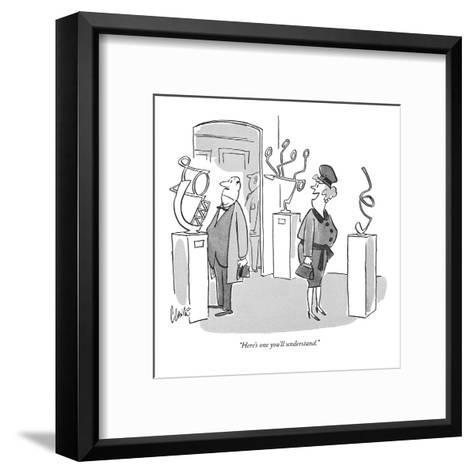 """""""Here's one you'll understand."""" - New Yorker Cartoon-Claude Smith-Framed Art Print"""